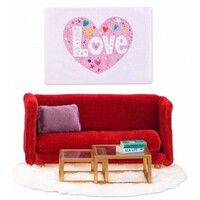 Lundby - Smaland Red Sitting Room Set