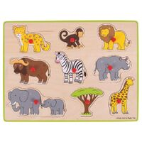 Bigjigs - Safari Lift Out Puzzle 9pc
