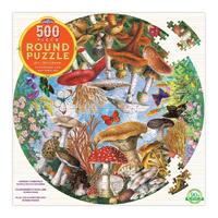 eeBoo - Mushrooms & Butterflies Round Puzzle 500pc