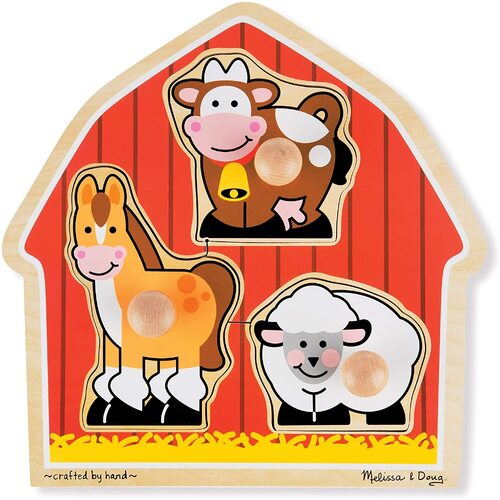 Melissa & Doug - Barnyard Animals Jumbo Knob Puzzle 3pc